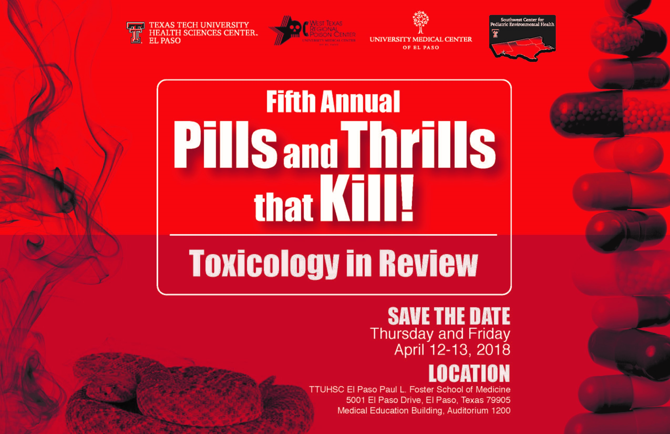 Flyer link to Pills and Thrills that Kill event